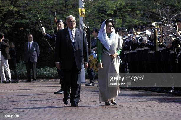 Benazir Bhutto visits Bonn in Bonn Germany on April 20 1994Benazir Bhutto with German Chancellor Helmut Kohl