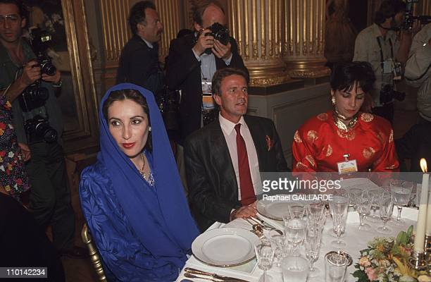 Benazir Bhutto with Bernard Kouchnerat the Musee d'Orsay for Bicentennial Dinner in Paris France on July 13 1989 in Paris France on July 13 1989