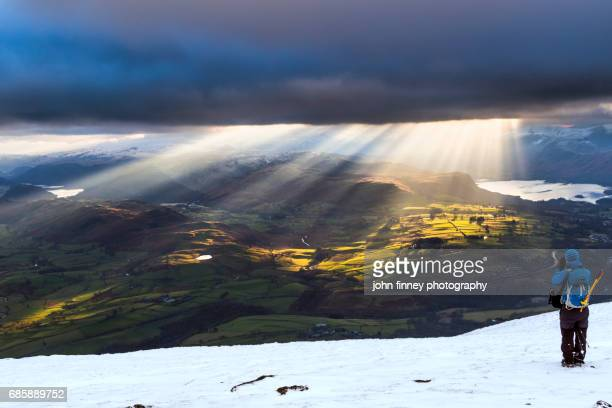 bencathra sunset with a view. lake district national park. uk. - keswick stock photos and pictures