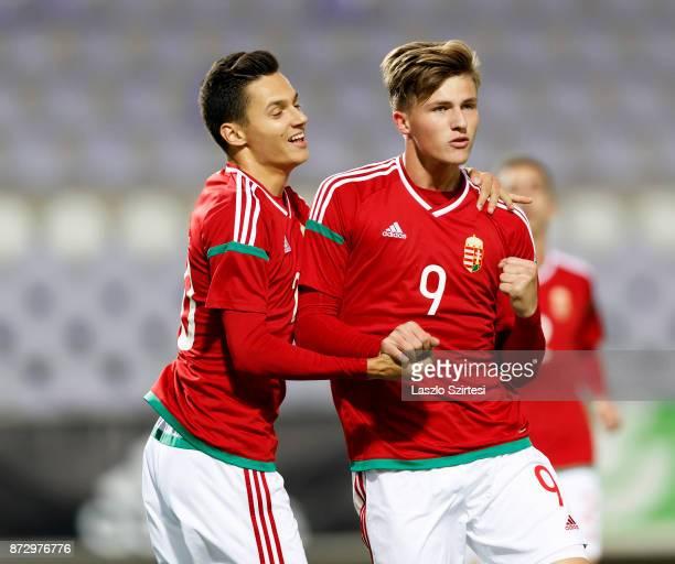 Bence Biro of Hungary U21 celebrates his goal with Daniel Salloi of Hungary U21 during the UEFA Under 21 Euro 2019 Qualifier match between Hungary...