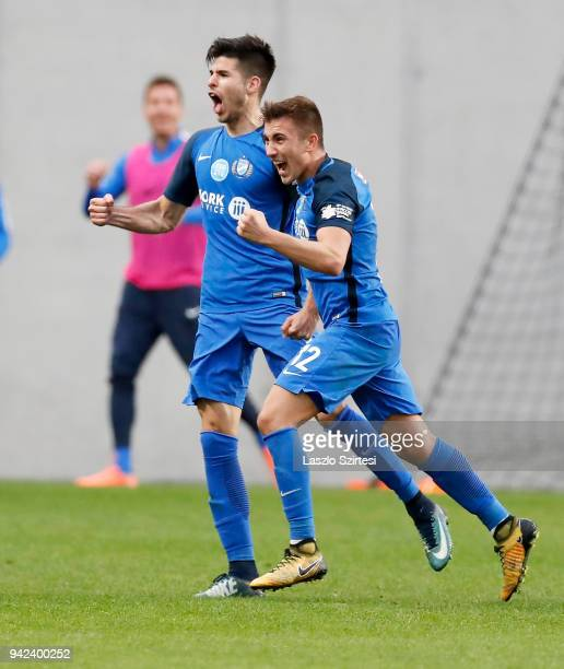Bence Deutsch of MTK Budapest celebrates his goal with David Jakab of MTK Budapest during the Hungarian Cup Quarter Final 2nd Leg match between MTK...