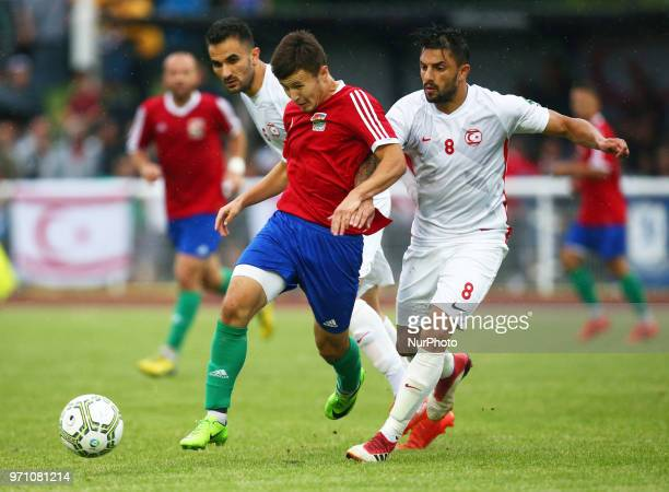 Bence Lizak of Karpatalya holds of Cagri Kiral of Northern Cyprus during Conifa Paddy Power World Football Cup 2018 Grand Final between Northern...