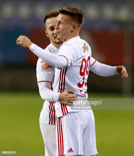 Bence Sos of DVSC celebrates his goal with Adam Bodi of DVSC during the Hungarian OTP Bank Liga match between Vasas FC and DVSC at Ferenc Szusza...