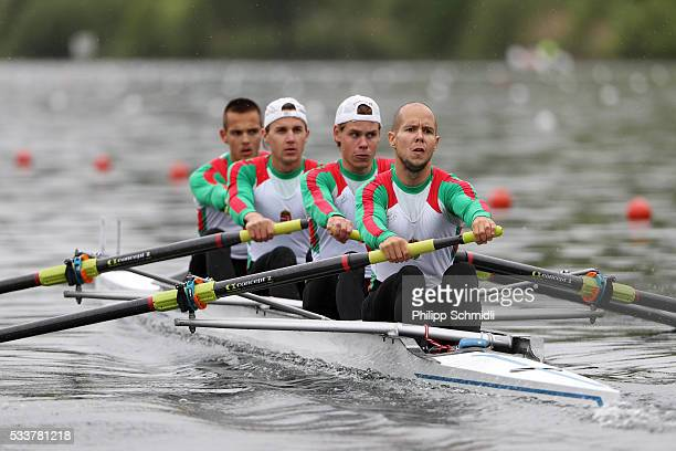 Bence Vallyon David Forrai Roland Szigeti and Peter Krpesics of Hungary compete in the Lightweight Men's Four repechage during Day 2 of the 2016 FISA...