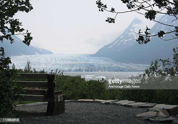 A bench affords a view of Spencer Glacier along the trail from the Alaska Railroad Whistlestop station to Portage Glacier
