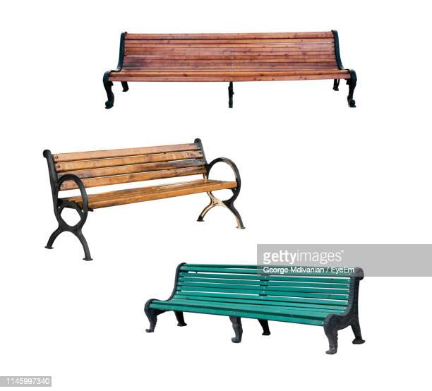 bench against white background - bench stock pictures, royalty-free photos & images