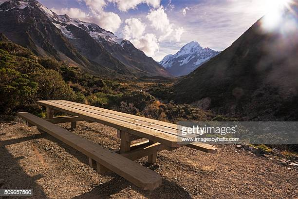 Bench at Hooker Valley