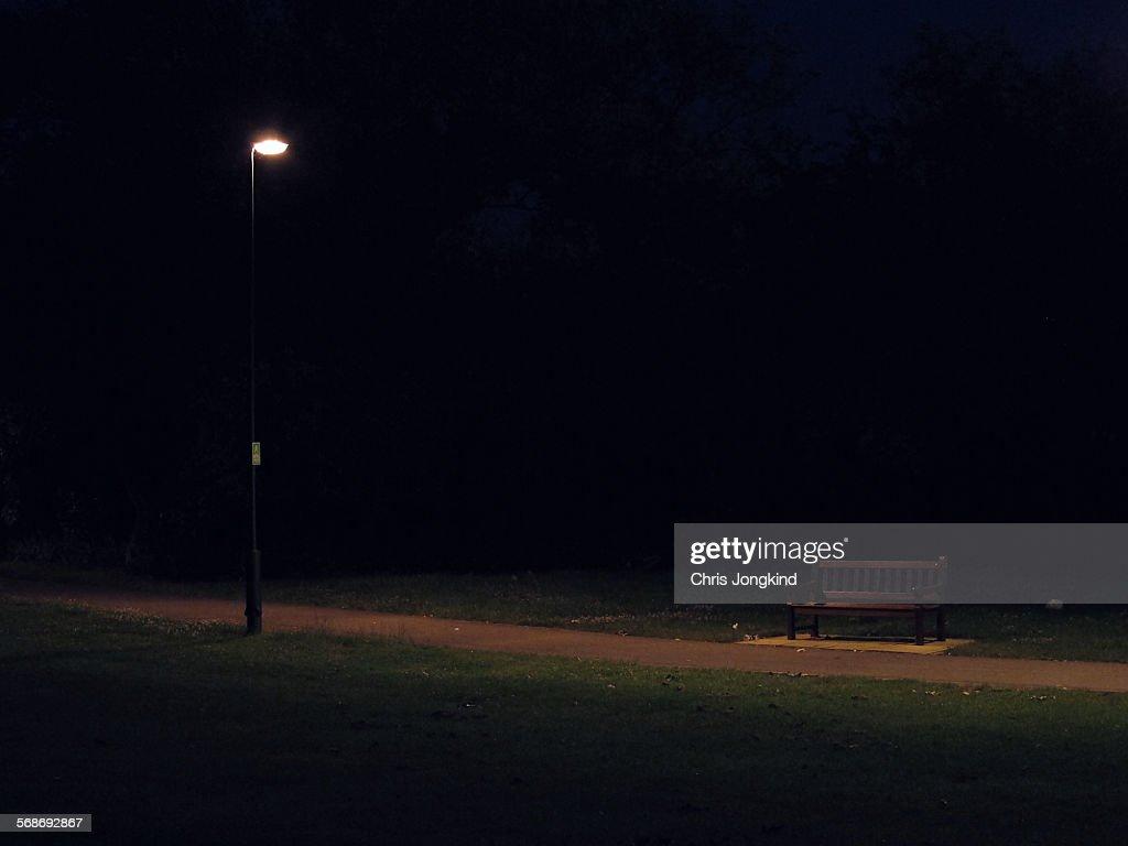 Bench at Night : Stock Photo