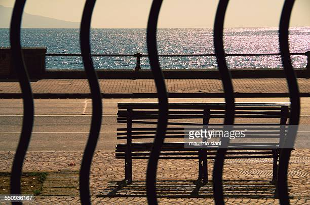 Bench at seafront