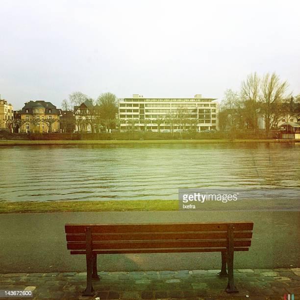 bench by river - frankfurt main bildbanksfoton och bilder