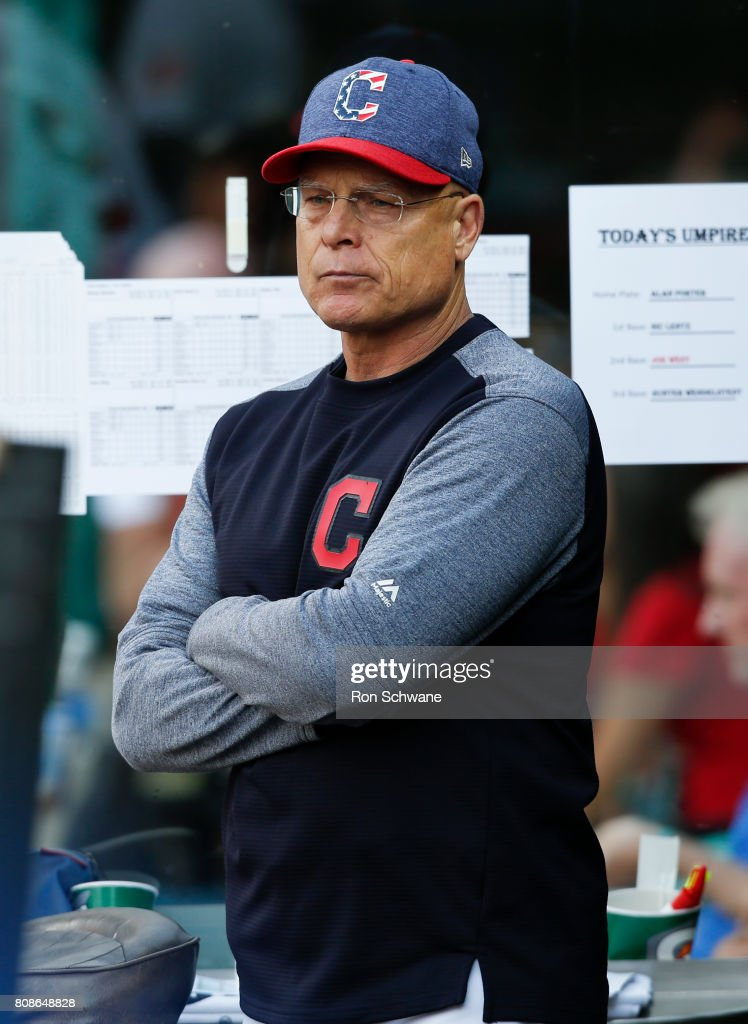 Bench coach Brad Mills #2 of the Cleveland Indians manages the team against the San Diego Padres during the second inning at Progressive Field on July 4, 2017 in Cleveland, Ohio. Manager Terry Francona us out of the game due to medical reasons,