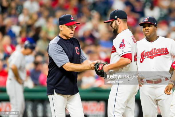 Bench coach Brad Mills of the Cleveland Indians removes relief pitcher Nick Goody during the seventh inning against the San Diego Padres at...
