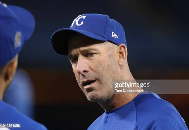 Bench coach Dale Sveum of the Kansas City Royals during batting practice prior to the start of MLB game action against the Toronto Blue Jays at...