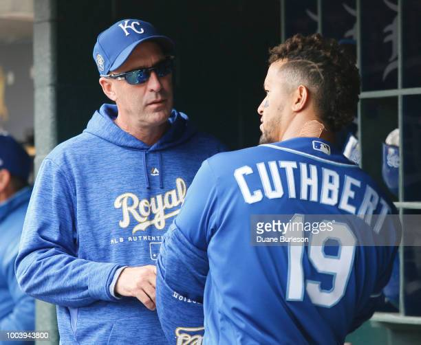 Bench coach Dale Sveum of the Kansas City Royals talks with Cheslor Cuthbert of the Kansas City Royals during a game against the Detroit Tigers at...