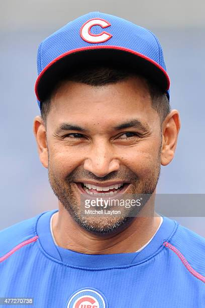 Bench coach Dave Martinez of the Chicago Cubs looks on before a baseball game against the Washington Nationals at Nationals Park on June 5 2015 in...