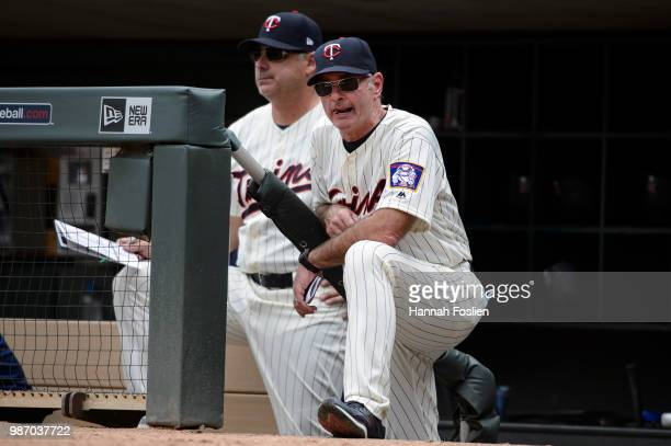 Bench coach Derek Shelton and manager Paul Molitor of the Minnesota Twins look on against the Texas Rangers during the game on June 23 2018 at Target...
