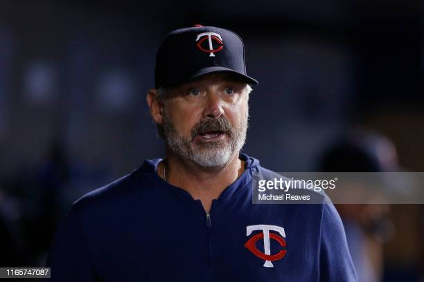 Bench coach Derek Shelton of the Minnesota Twins looks on against the Miami Marlins at Marlins Park on August 01 2019 in Miami Florida