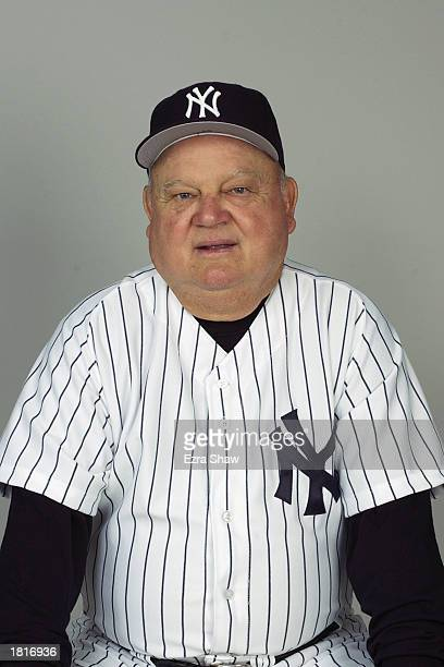 Bench coach Don Zimmer of the New York Yankees poses for a portrait during the Yankees' spring training Media Day on February 21 2003 at Legends...