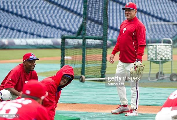 Bench coach Larry Bowa of the Philadelphia Phillies gets ready for the game against the Washington Nationals on May 4 2014 at Citizens Bank Park in...