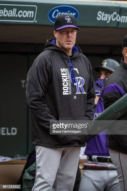 Bench coach Mike Redmond of the Colorado Rockies during game two of a doubleheader against the Minnesota Twins on May 18 2017 at Target Field in...
