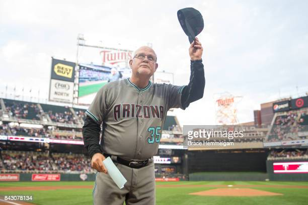 Bench coach Ron Gardenhire of the Arizona Diamondbacks is honored prior to the game against the Minnesota Twins on August 18 2017 at Target Field in...