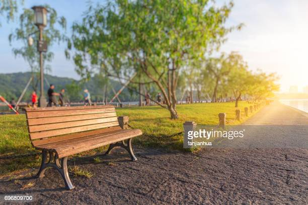 bench in a park on sunny day - bench stock pictures, royalty-free photos & images