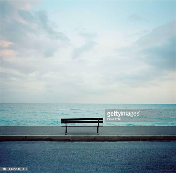 Bench in front of ocean