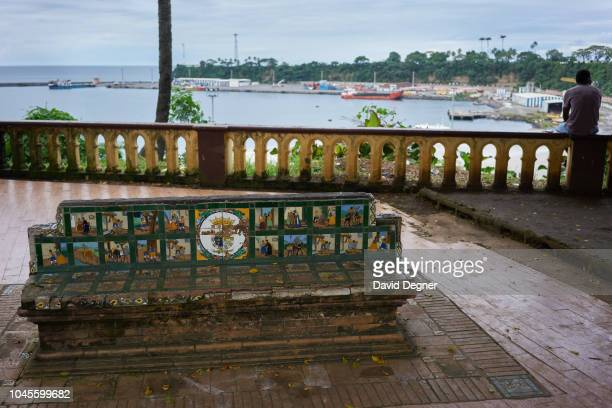 A bench in front of Port Malabo on August 22 2018 in Malabo Equatorial Guinea