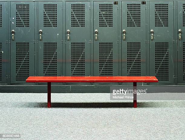bench in locker room - locker room stock pictures, royalty-free photos & images