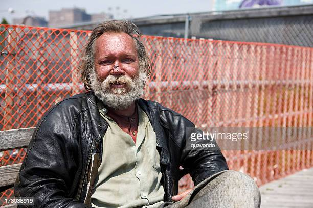 Bench in New York City, Portrait of Homeless Man, Copyspace