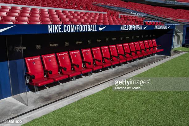 Bench in Wanda Metropolitano stadium during an open doors media day ahead of the 2019 UEFA Champions League Final The final match will be played at...