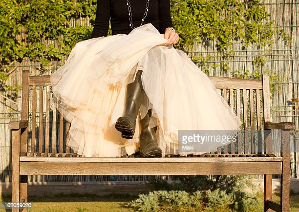 bench morning copia - lace skirt stock pictures, royalty-free photos & images