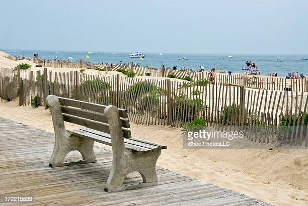 Bench near the beach at New Jersey shore