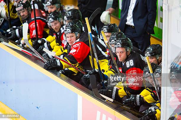 Bench of Lappeenranta during the Champions Hockey League Round of 32 match between SaiPa Lappeenranta and Tappara Tampere at Kisapuisto on October...