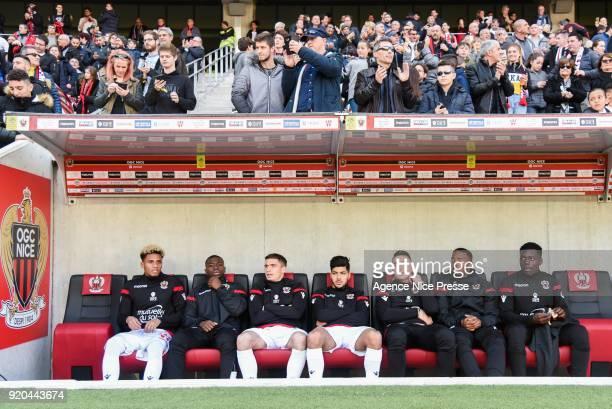 Bench of Nice Ihsan Sacko Nampalys Mendy Romain Perraud Bassem Srarfi Yoan Cardinale Wylan Cyprien and Jean Victor Makengo during the Ligue 1 match...