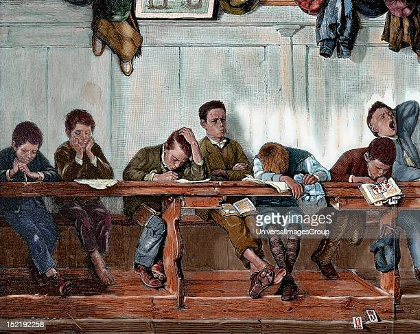 Bench of punished in a school Engraving 1884