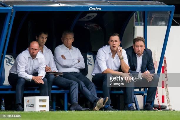 bench of Vitesse with Nikki Hofs Raimond van der Gouw Edward Sturing Oleg Yarovinskiy coach Leonid Slutski Sloetski Sloetsky Slutsky of Vitesse...