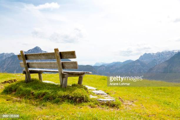 Bench on a lookout in front of the Alps, Salzkammergut, Austria, PublicGround