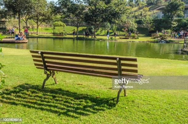 bench on green lawn over the sun by the lake in July 2018 in São Roque, Sao Paulo in Brazil