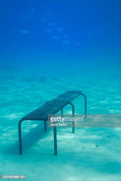 Bench on seabed, underwater view