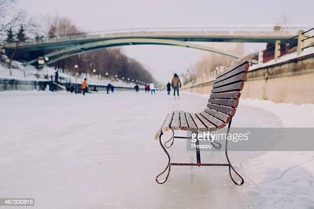 Bench on skating ice