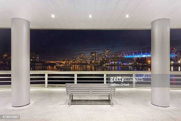 Bench overlooking Vancouver city at night