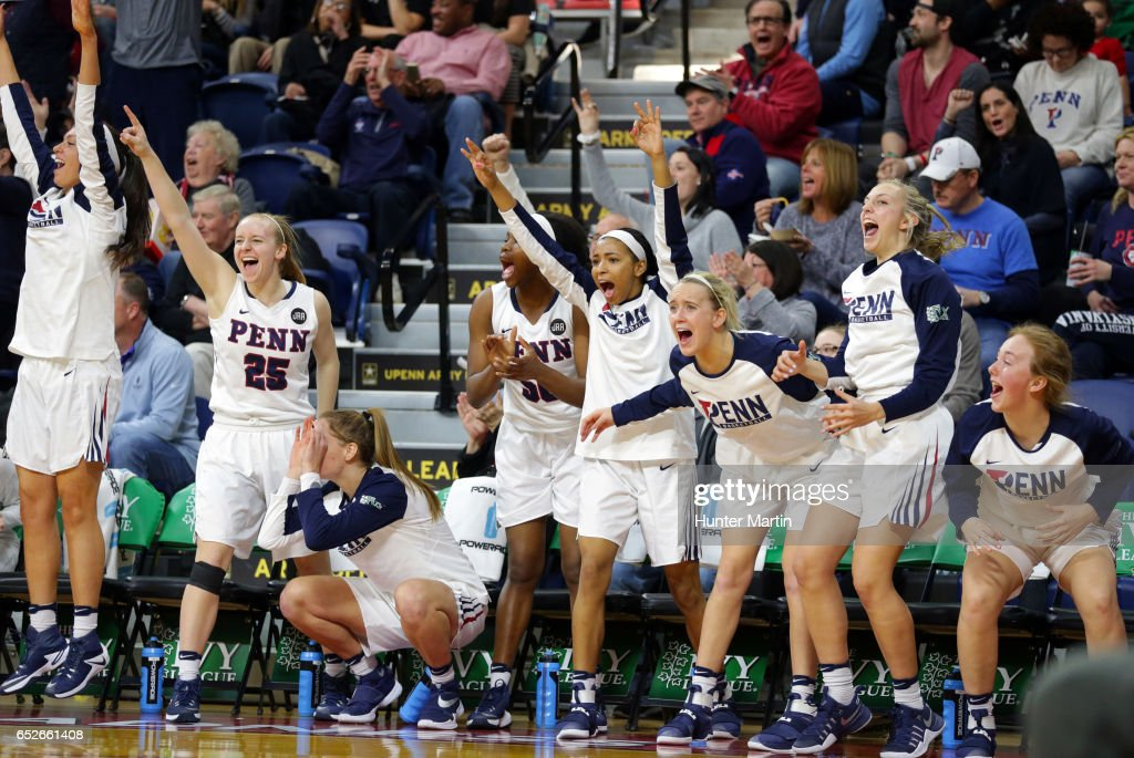 Bench players of the Penn Quakers cheer after a three-point basket during a game against the Princeton Tigers at The Palestra during the championship final of the Ivy League Women's Basketball Tournament on March 12, 2017 in Philadelphia, Pennsylvania. Penn won 57-48.
