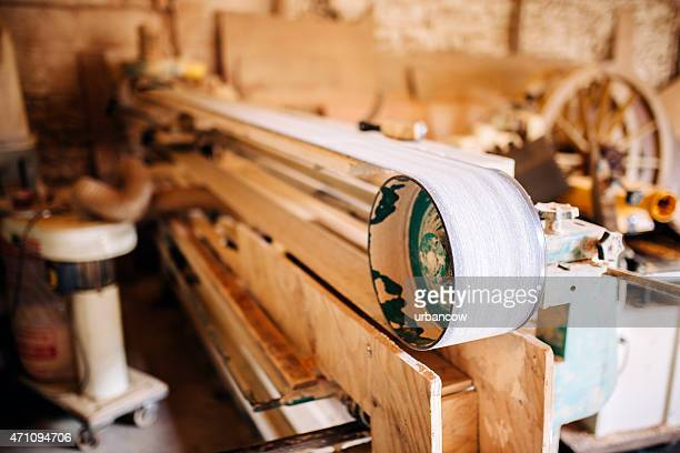 Bench sander. Wheelwright's workshop, carpentry tools and machinery