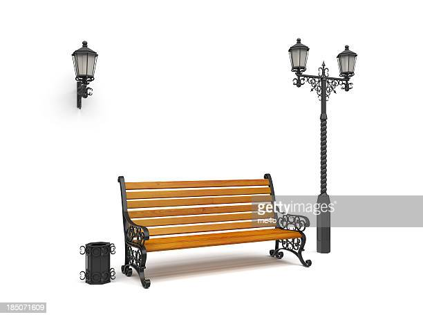 bench, street lamp,basket Isolated On White, perspective view