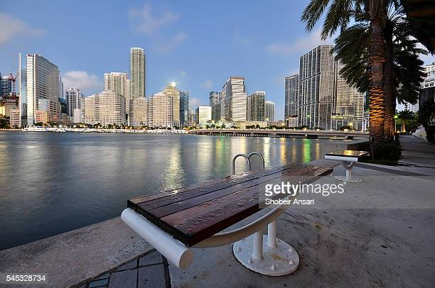 Bench with downtown view, Greater Downtown Miami, Florida