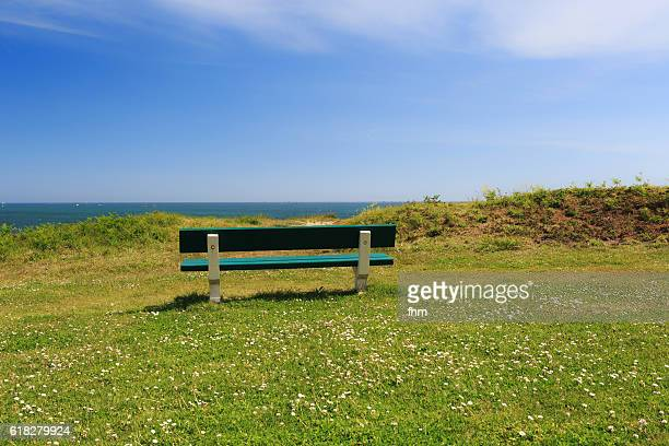 Bench with nice view to the atlantic ocean on the coastline of the french Brittany