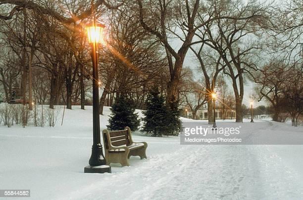 Bench with streetlamp near snow-covered road, Lake Como Park, Saint Paul, Minnesota, USA