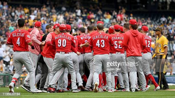 Benches clear after Chris Archer of the Pittsburgh Pirates throws behind Derek Dietrich of the Cincinnati Reds in the fourth inning during the game...