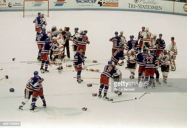 Benches for the New York Rangers and New Jersey Devils empty during a fight in Game 6 of the 1992 Division Finals on April 29 1992 at the Brendan...